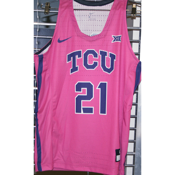 Photo of Women's Basketball Pink Game Worn Nike® Jersey #21 (L)