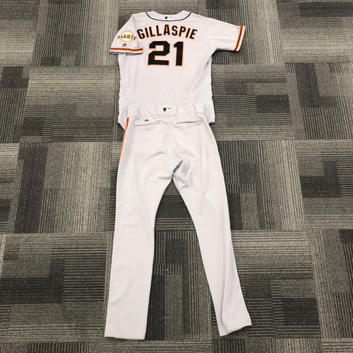 Photo of San Francisco Giants - 2016 Team Issued Road Jersey and Team Issued Pants worn by #21 Conor Gillaspie - Jersey Size: 48 - Pant Size: 36-40-35