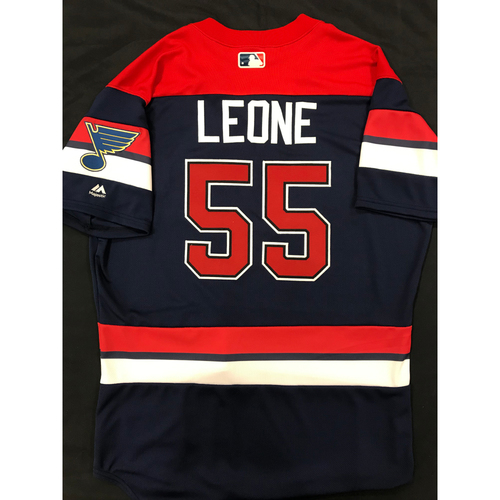 Photo of Dominic Leone Team Issued 2019 St. Louis Blues Themed Cardinals Jersey (Size 46)