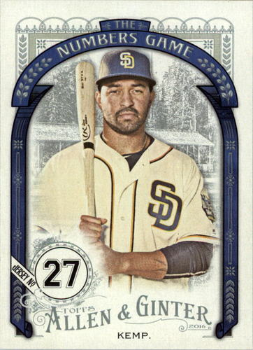 Photo of 2016 Topps Allen and Ginter The Numbers Game #NG83 Matt Kemp