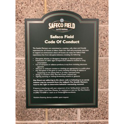 "Photo of Safeco Field  ""Code of Conduct"" Sign - Approximately 18""x24"""