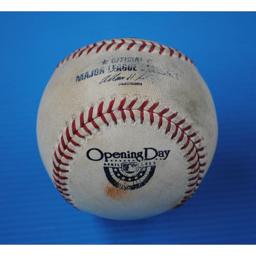 Photo of Game-Used Baseball - 4/2/13 - BAL at TB - Batter - Yunel Escobar, Pitcher - Jason Hammel, Groundout to 3B, Bot of 2 - Opening Day
