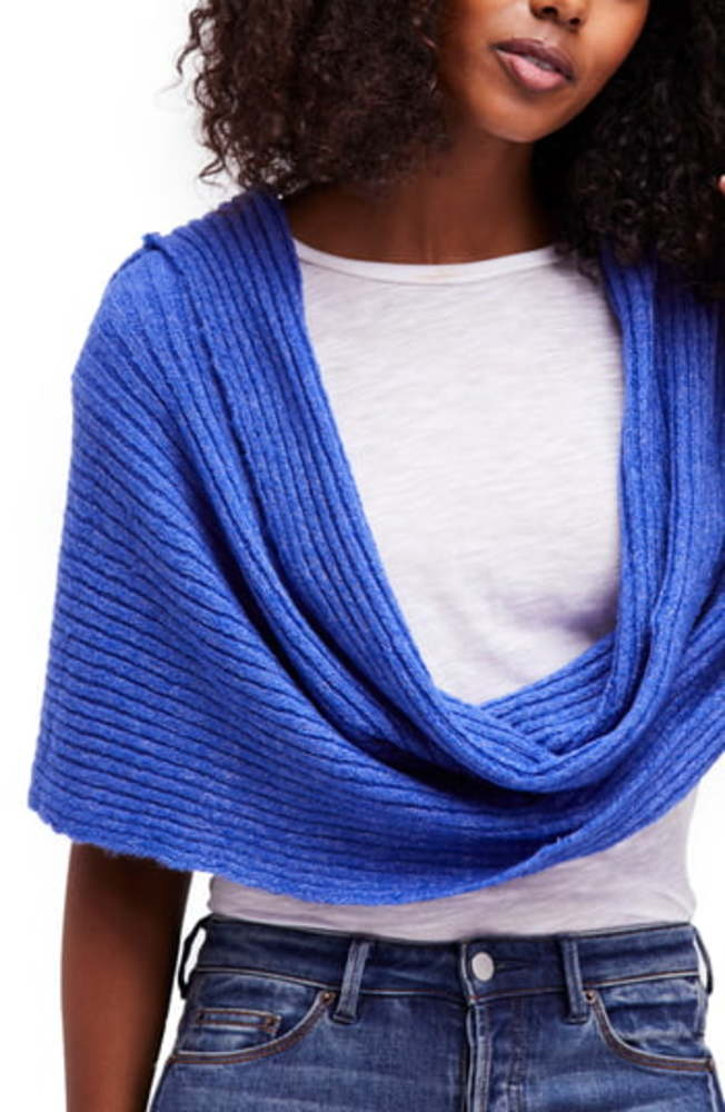 Photo of Free People Blue Marled Ribbed-Knit Hooded Wrap