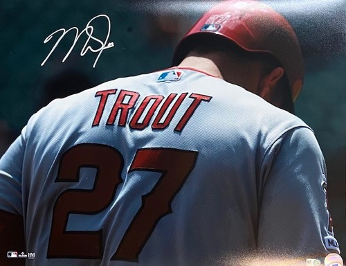 Photo of Mike Trout Autographed 16x20 - Behind Back