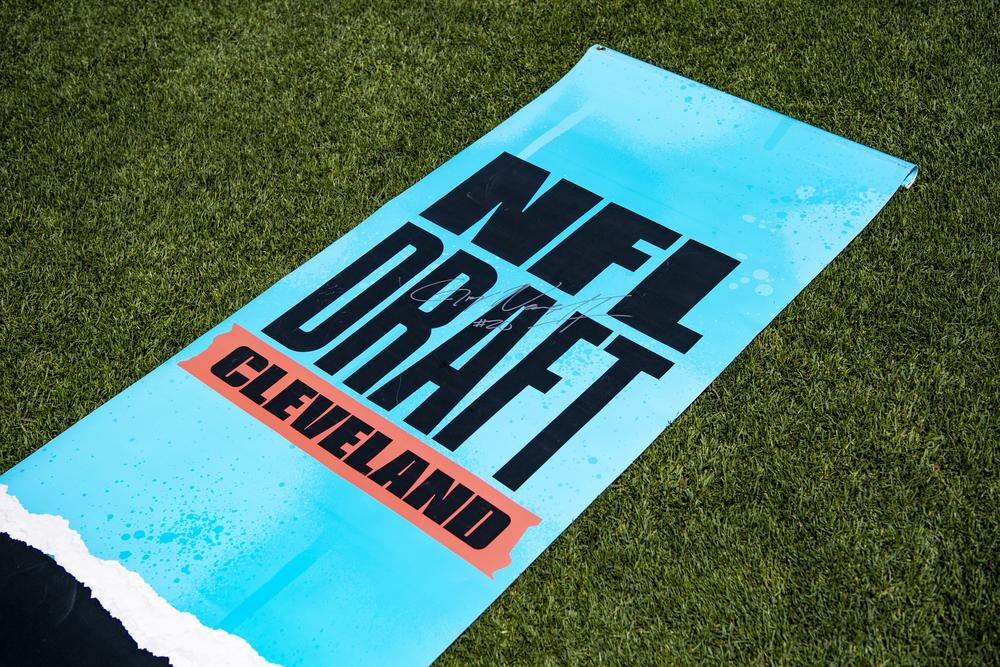 Browns - Greg Newsome II Autographed 2021 Draft Street Banner