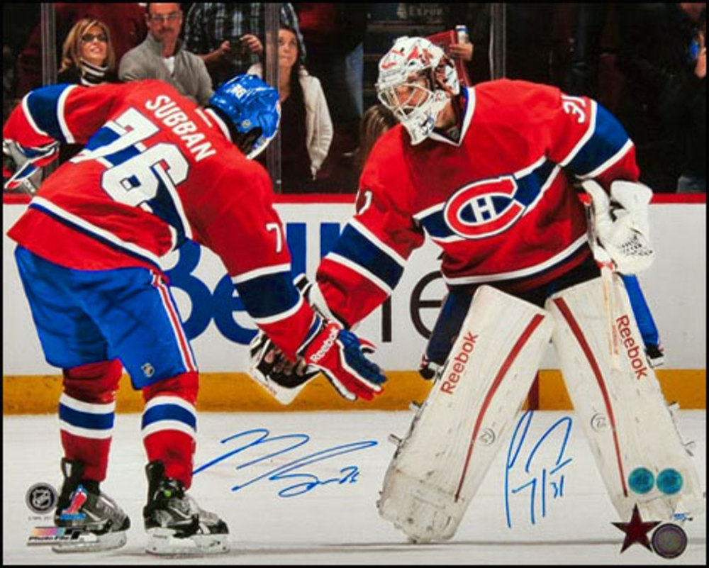P.K. SUBBAN & CAREY PRICE Montreal Canadiens Autographed 16x20 Triple Low 5 Photo #/555