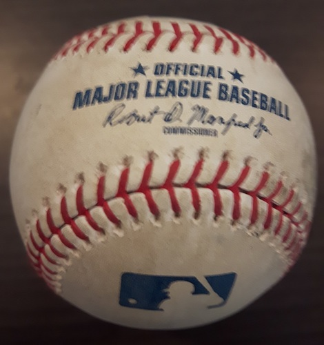 Photo of Authenticated Player Collected Baseball - Home Run by Brandon Drury against Marcus Stroman. 3rd Inning. (April 1, 2018). 1st HR as a Yankee.