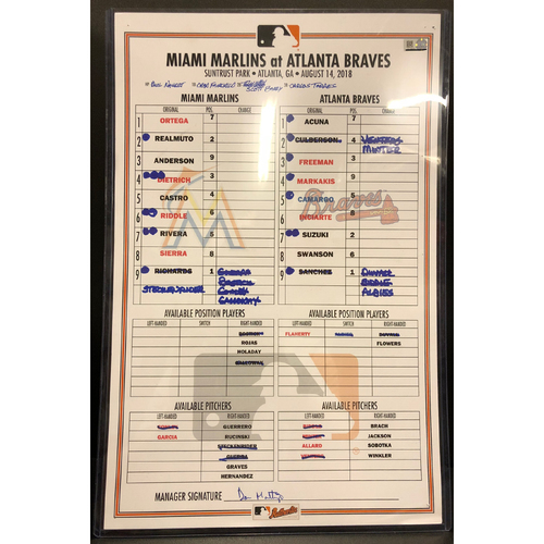 Photo of Game-Used Line Up Card: Marlins vs Braves - 8/14/18 - Ronald Acuna Jr. Career HR's #18 & #19 *Acuna Jr. becomes the youngest player in MLB History to homer in 5 straight games*
