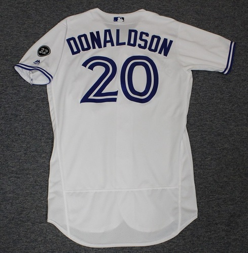 Photo of Authenticated Game Used Jersey - #20 Josh Donaldson (May 23, 2018: 1-for-4 with 1 Double, 1 Run and 1 BB). Size 44.