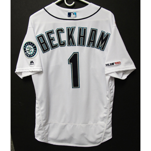 Photo of Tim Beckham Game-Used Home White Jersey - Athletics vs. Mariners - 5/13/19