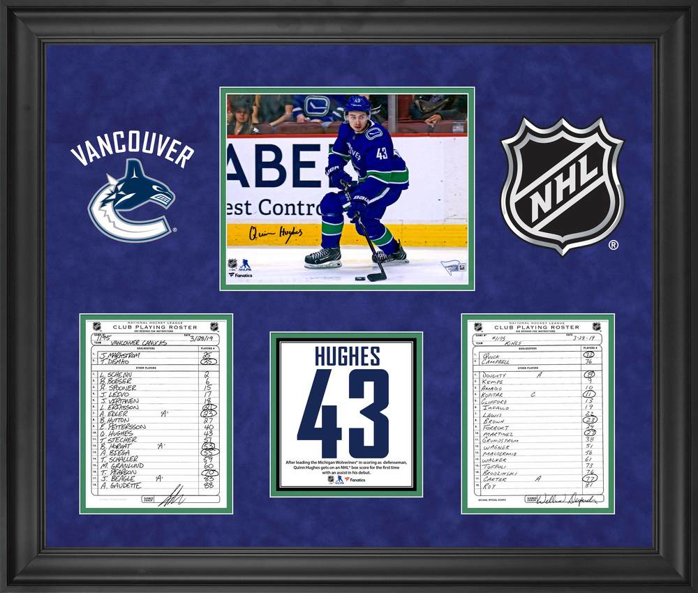 Vancouver Canucks Framed Autographed Original Line-Up Cards from March 28, 2019 vs. Los Angeles Kings with Autographed Quinn Hughes 8x10 Photo - Quinn Hughes NHL Debut