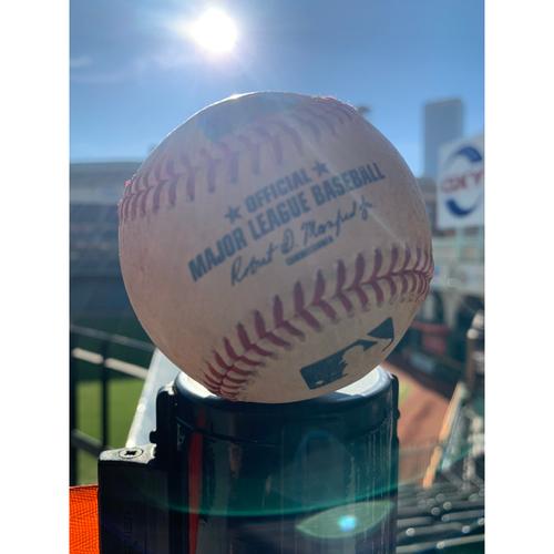 Photo of Game-Used Baseball: Pitcher: Cionel Perez, Batter: Jesus Aguilar, RBI Single (Top 14) - 6/12/19 vs. MIL