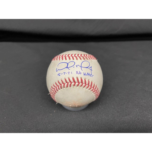 Photo of Wade Miley No-Hitter - *Autographed Game-Used Baseball* - Bot 2 - Wade Miley to Franmil Reyes (Strikeout Looking); Eddie Rosario (Fly Out); to Harold Ramirez (Ball) - Inscribed as 5-7-21 No Hitter