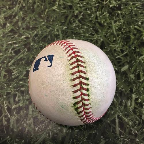 Photo of Game-Used Baseball MIN@MIL 04/03/21 - Brent Suter - Nelson Cruz: Single