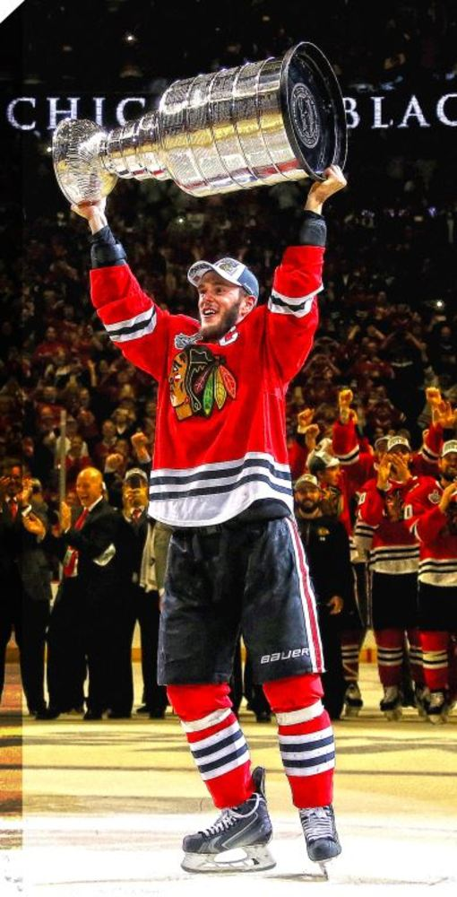 Chicago Blackhawks - 14x28 Jonathan Toews Raising the Cup Canvas