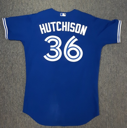 Photo of Authenticated Game Used Jersey - #36 Drew Hutchison (September 30, 2015 - Blue Jays clinch AL East). Size 46