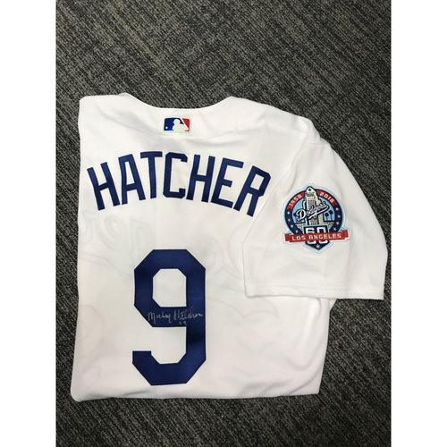 Photo of LADF Blue Diamond Gala Auction: Mickey Hatcher Authentic Autographed Jersey (Size 48) - Worn during Dodgers 2018 Alumni Game