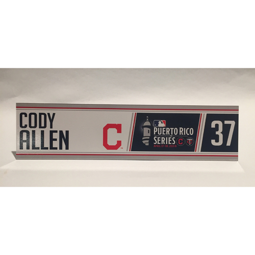 2018 Puerto Rico Series - Cody Allen Game-Used Locker Name Plate