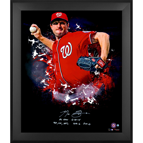"Photo of Max Scherzer Washington Nationals Framed Autographed 20"" x 24"" In Focus Photograph with Multiple Inscriptions - L. E. #1 of 31"