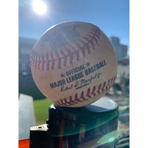 Photo of Game-Used Baseball: Pitcher: Brett Anderson, Batter: Michael Brantley, Single (Bot 5) - 9/11/19 vs. OAK