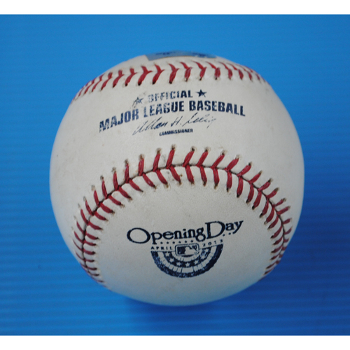 Photo of Game-Used Opening Day Baseball - Braves @ Marlins - Batter - Evan Gattis, Pitcher - Kevin Slowey - Top of 6, Fouled Back to Screen - 4/8/13