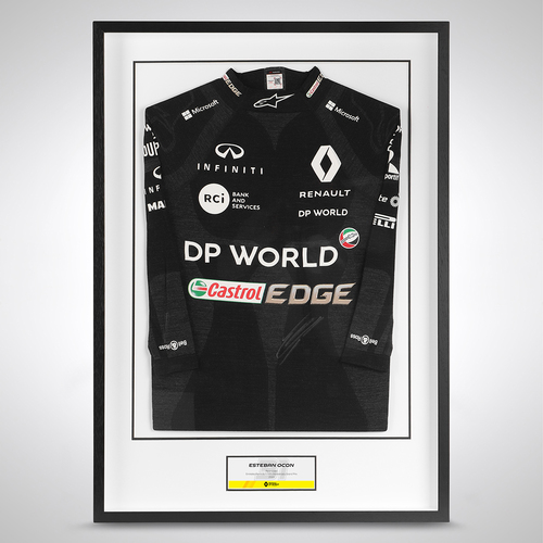 Photo of Esteban Ocon 2020 Framed Signed Race Used Nomex