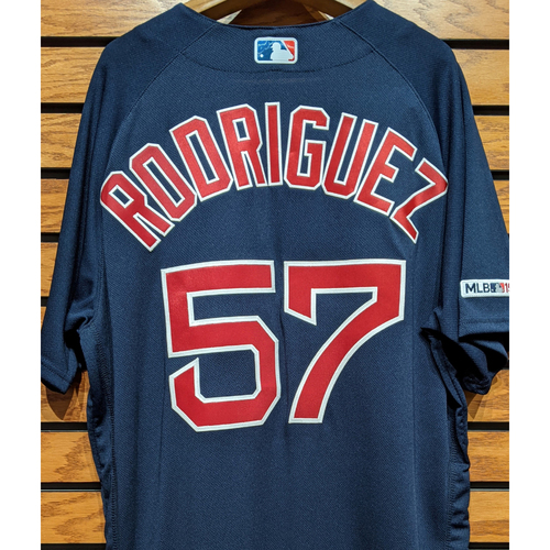 Photo of Eduardo Rodriguez #57 Team Issued Navy Road Alternate Jersey