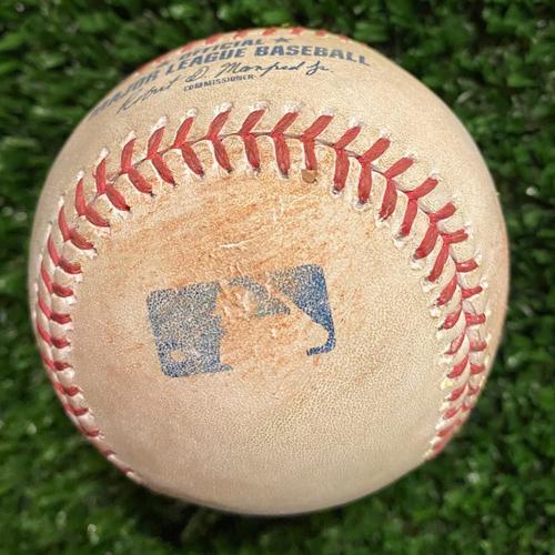 Photo of Matt Duffy Game-Used Hit Single Baseball - 4/26/21 vs. Chicago Cubs
