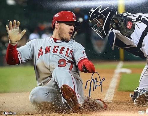 Photo of Mike Trout Autographed 16x20 - Sliding
