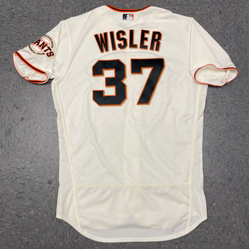 Photo of 2021 Game Used Home Cream Jersey worn by #37 Matt Wisler on 4/9 vs. COL (Home Opening Day), 4/10 vs. COL & 4/12 vs. CIN - Size 46