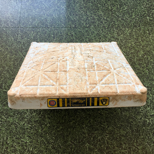 Photo of ALEC MILL'S NO-HITTER Game-Used Base - 09/13/20 - CHC @ MIL - 1st Base, Innings 1-9