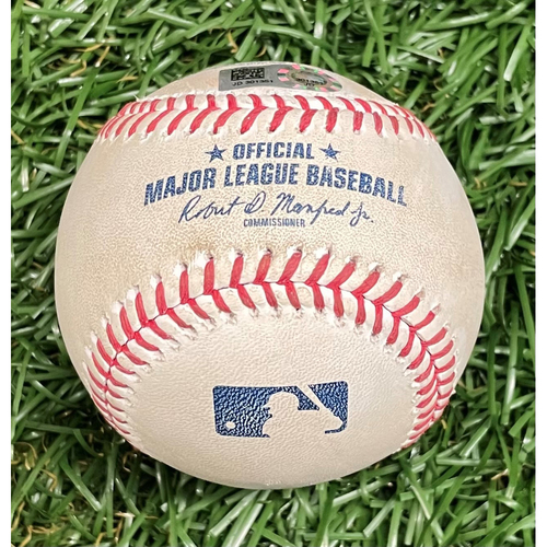 Photo of Game Used Baseball: Giancarlo Stanton single off Chaz Roe - Top 11 - September 24, 2019 v NYY