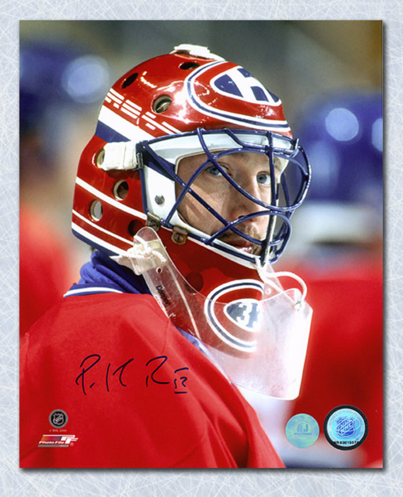 Patrick Roy Montreal Canadiens Autographed Goalie Mask Close Up 8x10 Photo