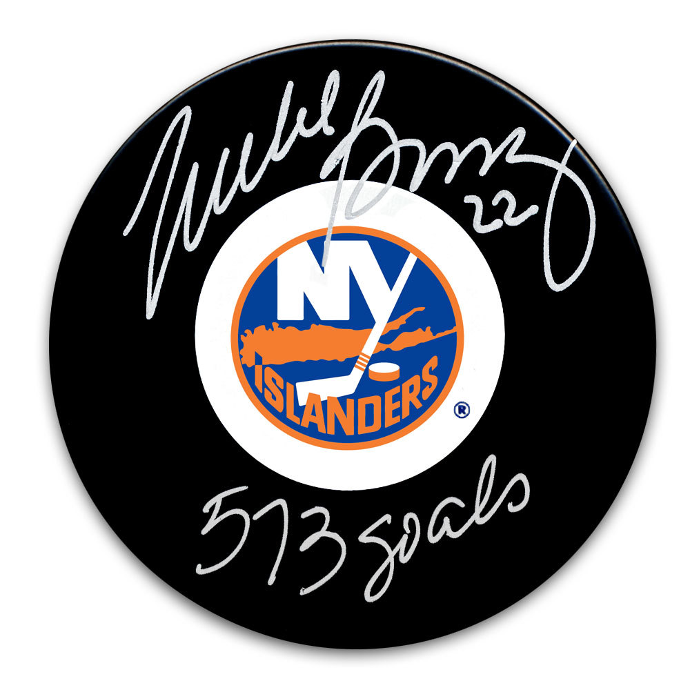 Mike Bossy New York Islanders 573 Goals Autographed Puck