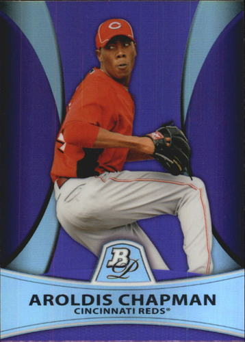 Photo of 2010 Bowman Platinum Prospects Purple Refractors  Aroldis Chapman