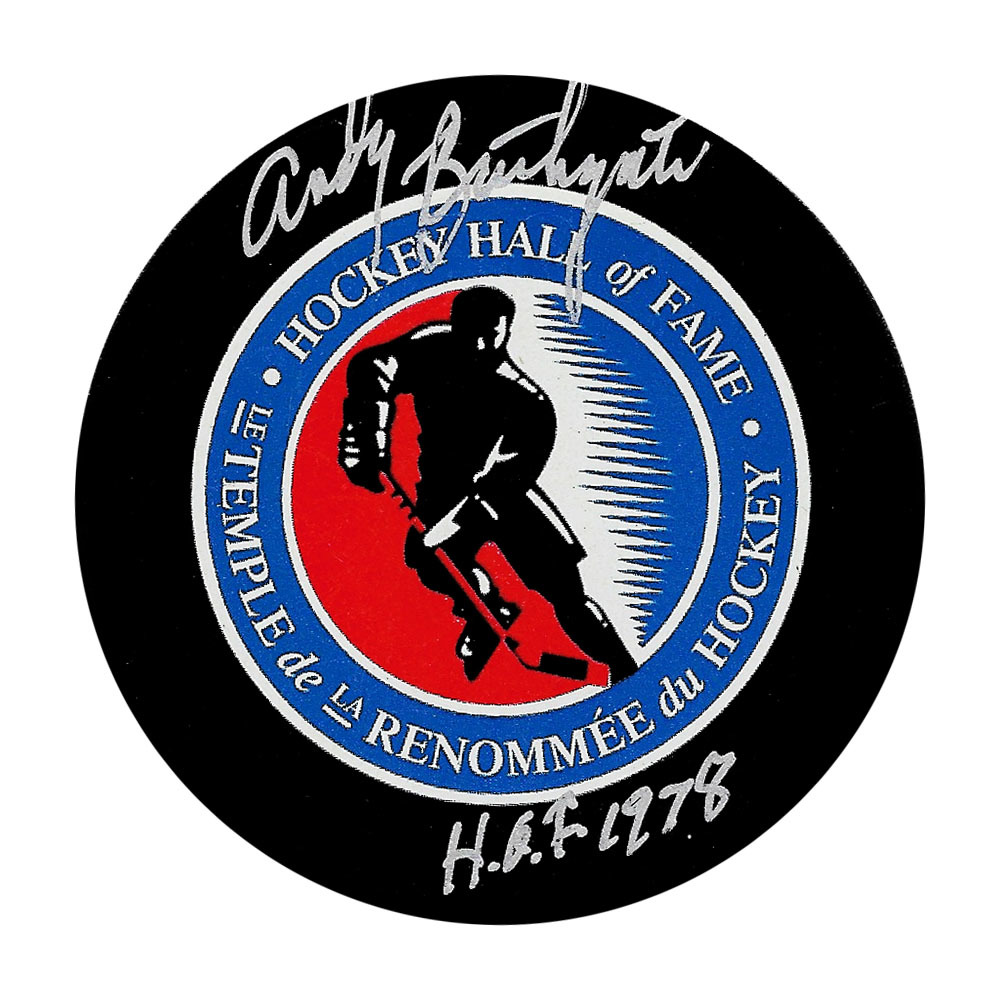 Andy Bathgate Autographed Hockey Hall of Fame Puck w/HOF Inscription