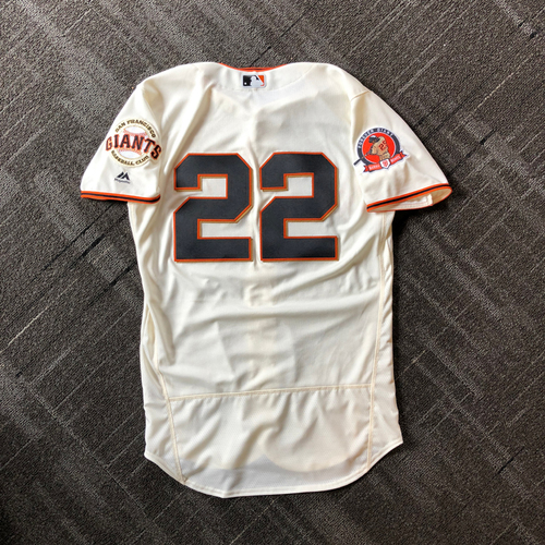 Photo of 2018 San Francisco Giants - #25 Number Retirement Game - Game Used Jersey worn by #22 Andrew McCutchen - jersey features a commemorative patch celebrating #25 Number Retirement on August 11,2018 - Size 42