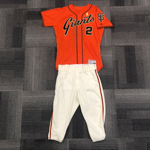 Photo of San Francisco Giants - 2017 Game-Used Orange Friday Jersey (w/ Pediatric Cancer Awareness Ribbon) and Team Issued Pants worn by #2 Denard Span - Jersey Size: 46 - Pant Size: 35-40-20
