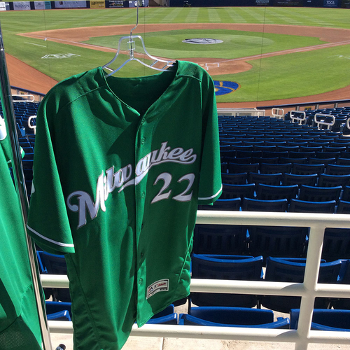 Photo of Christian Yelich 2018 Team-Issued St. Patrick's Day Jersey