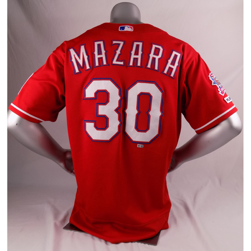 Photo of Final Season Game-Used Red Jersey - Nomar Mazara - 3/30/19, 9/15/19