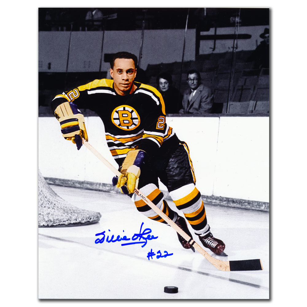 Willie O'Ree Boston Bruins ACTION Autographed 8x10