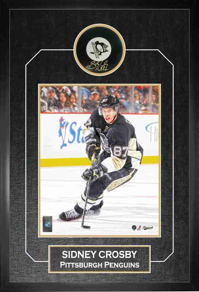 Sidney Crosby - Signed & Framed Pittsburgh Penguins Puck Etched Mat - Featuring 8x10 Action Photo