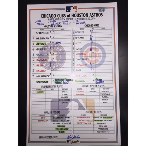 Astros vs Cubs, September 10, 2016, Game-Used Lineup Card