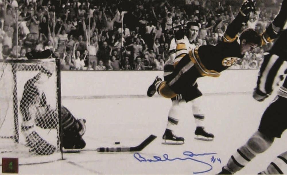Bobby Orr - Signed 11x14 Bruins The Goal - B/W (Bobby in Colour)