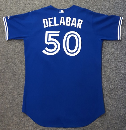 Photo of Authenticated Game Used Jersey - #50 Steve Delabar (September 15, 2012). Delabar was the losing pitcher and went 1.1 IP with 2 Hits, 1 ER, 1 Walk and 2 Ks. Size 48