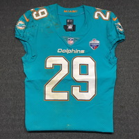 SPORT RELIEF - DOLPHINS NATE ALLEN GAME WORN DOLPHINS JERSEY W/ LONDON GAMES PATCH (OCTOBER 1, 2017) SIZE 40