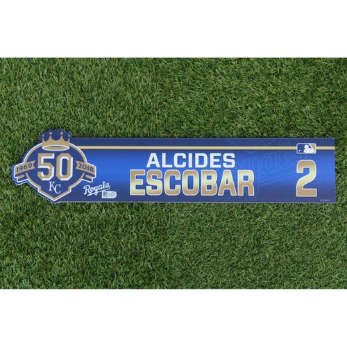 Photo of Game-Used Locker Nameplate: Alcides Escobar