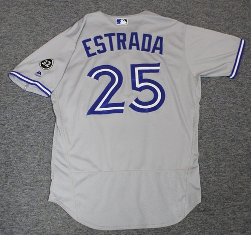 Photo of Authenticated Game Used Jersey - #25 Marco Estrada (June 22, 2018: 7 IP, 3 Hits, 2 ER, 2 BB, 7 Ks. Aug 4, 2018: 7 IP, 1 Hit, 1 ER, 2 BB, 4 Ks. Winning Pitcher). Size 46.