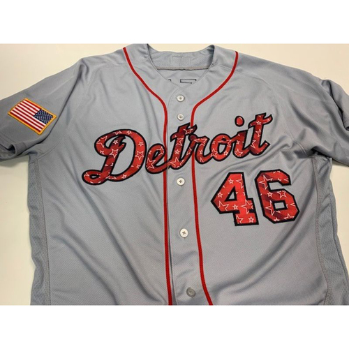 Photo of Game-Used Jeimer Candelario Stars and Stripes Jersey
