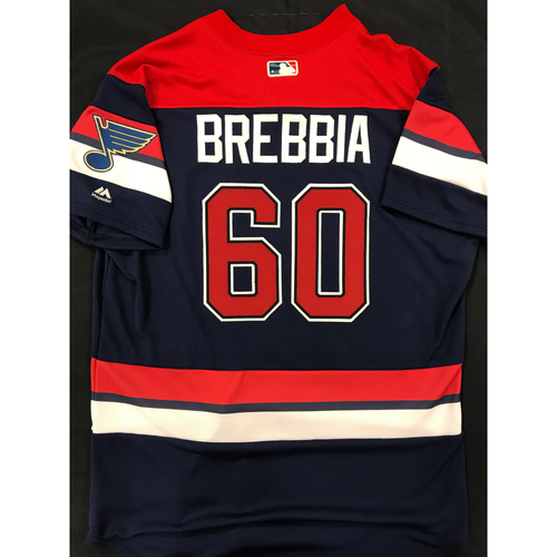 Photo of John Brebbia Team Issued 2019 St. Louis Blues Themed Cardinals Jersey (Size 46)